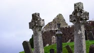 Celtic crosses in graveyard of Cill Chriosd, Isle of Skye, Highlands, Scotland Stock Footage