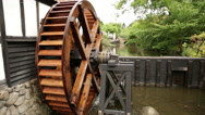 Close shoot of wooden water wheel Stock Footage