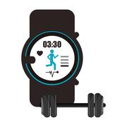 Heart rate wrist monitor and dumbbell  icon Stock Illustration