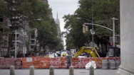 Construction in Manhattan with Empire State Building - bulldozer NYC Stock Footage