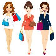 Beautiful Business Women Shopping Stock Illustration