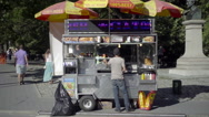 Hot dog vendor at Columbus Circle by Central Park in summer NYC 1080 HD Stock Footage