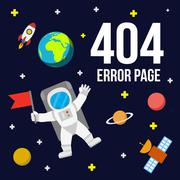 Space 404 error page vector template for website. Stock Illustration