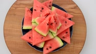 Shooting of a watermelon on a kitchen board. Stock Footage