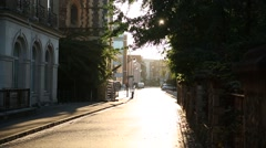 Typical Eurpean Street on a sunset Stock Footage