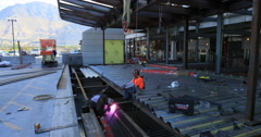 Welder new construction structural steel DCI 4K Stock Footage