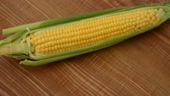 Corn on a kitchen board. Stock Footage