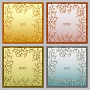 Set of 4 metal vector frames for text input Stock Illustration