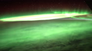 Earth and Aurora Borealis seen from ISS. Elements of this video furnished by Stock Footage