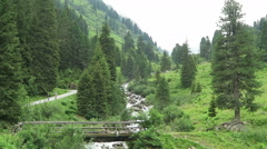 Hiking along the gerlos stream at Gerlostal valley at Zillertal area. Stock Footage