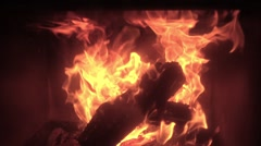 SLOW MOTION. Fire burning with wood Stock Footage