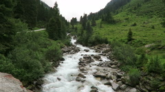 Wild Stream at Gerlostal valley at Zillertal area. Hight tauern mountain range. Stock Footage
