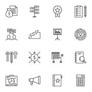 Set Of Project Management Icons On Money Revenue, Cash Flow, Promotion And Mo Stock Illustration