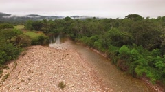 Flying over the Okoine River in the Kamarata Valley at Uruyen Stock Footage