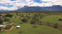 Flying over Kamarata indigenous town. La Gran Sabana, Venezuela Stock Footage
