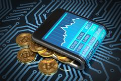 Concept Of Digital Wallet And Gold Bitcoins On Printed Circuit Board Stock Illustration