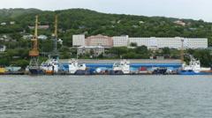 Petropavlosk harbor seen from avacha bay Stock Footage