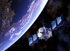 Satellite Deploys Solar Panels And Planet Earth Reflected In Them Stock Illustration