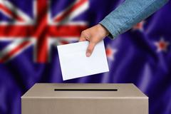 Election in New Zeland. The hand of woman putting her vote in the ballot box. Stock Photos