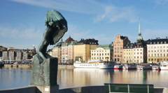 Stockholm City early morning Stock Footage