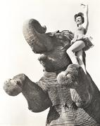 Circus performer posing on elephant Stock Photos
