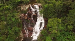Flying over Okoine River waterfall in the Auyan Tepui. Kamarata Valley Stock Footage