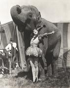 Circus performer posing with elephant Stock Photos