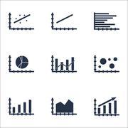 Set Of Graphs, Diagrams And Statistics Icons. Premium Quality Symbol Collecti Stock Illustration