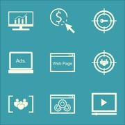 Set Of SEO, Marketing And Advertising Icons On Video Advertising, Target Keyw Stock Illustration