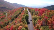 Aerial shot of car driving on mountain road Stock Footage