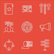 Set Of Project Management Icons On Creativity, Teamwork, Quality Management A Stock Illustration