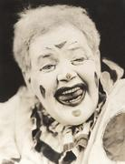 Closeup of laughing clown Stock Photos