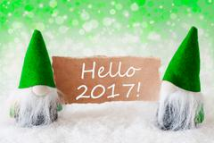 Green Natural Gnomes With Card, Text Hello 2017 Stock Photos
