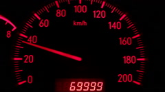 Digital odometer mileage of seventy thousand Stock Footage