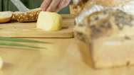Woman making delicious sandwich with ham and tomatoes, dolly shot Stock Footage