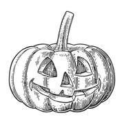 Halloween pumpkin with scary face. Vector vintage engraving illustration. Stock Illustration