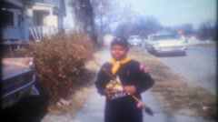 African American boy dressed in boy scout uniform 3628 -vintage film home movie Stock Footage
