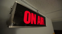 The sign on air is switched off and joins on radio and TV of studio Stock Footage