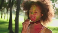 Closeup of young beautiful African American girl having fun in the Park with the Stock Footage