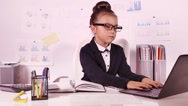 Business girl in the office Stock Footage