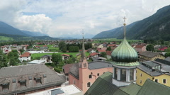 View over the roof tops of Rattenberg in triol at Inn river. Stock Footage