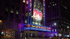 The Radio City Music Hall at night (in 4k), New York City. Stock Footage