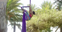 Agile athletic young acrobatic dancer Stock Footage