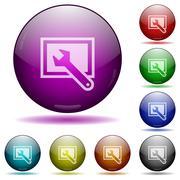 Screen settings glass sphere buttons Stock Illustration