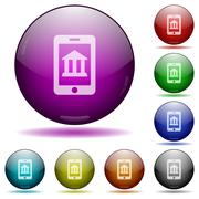 Mobile banking glass sphere buttons Stock Illustration
