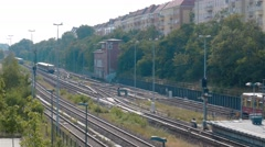 Real Time establishing shot of departure and arrivals S-Bahn trains in Berlin. Stock Footage