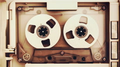 Vintage audio tape compact cassette Stock Footage