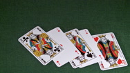 Playing Cards, Two Aces and Three Kings falling on Green Baize, Slow Motion Stock Footage