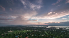 Timelapse Sunset cloud over Mandalay city at dusk with twilight sky Stock Footage