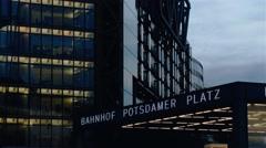 Real time locked down medium shot of Potsdamer Platz in Berlin Stock Footage